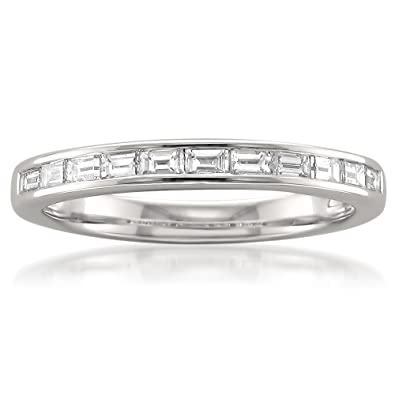 Amazoncom 14k White Gold Baguette Diamond Bridal Wedding Band Ring