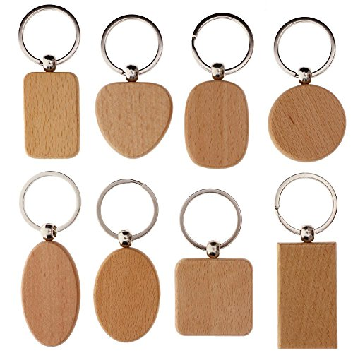 Personalized Wooden Ring - WXLAA DIY Blank Wooden Key Chain Personalized EDC Wood Keychains Best Gift