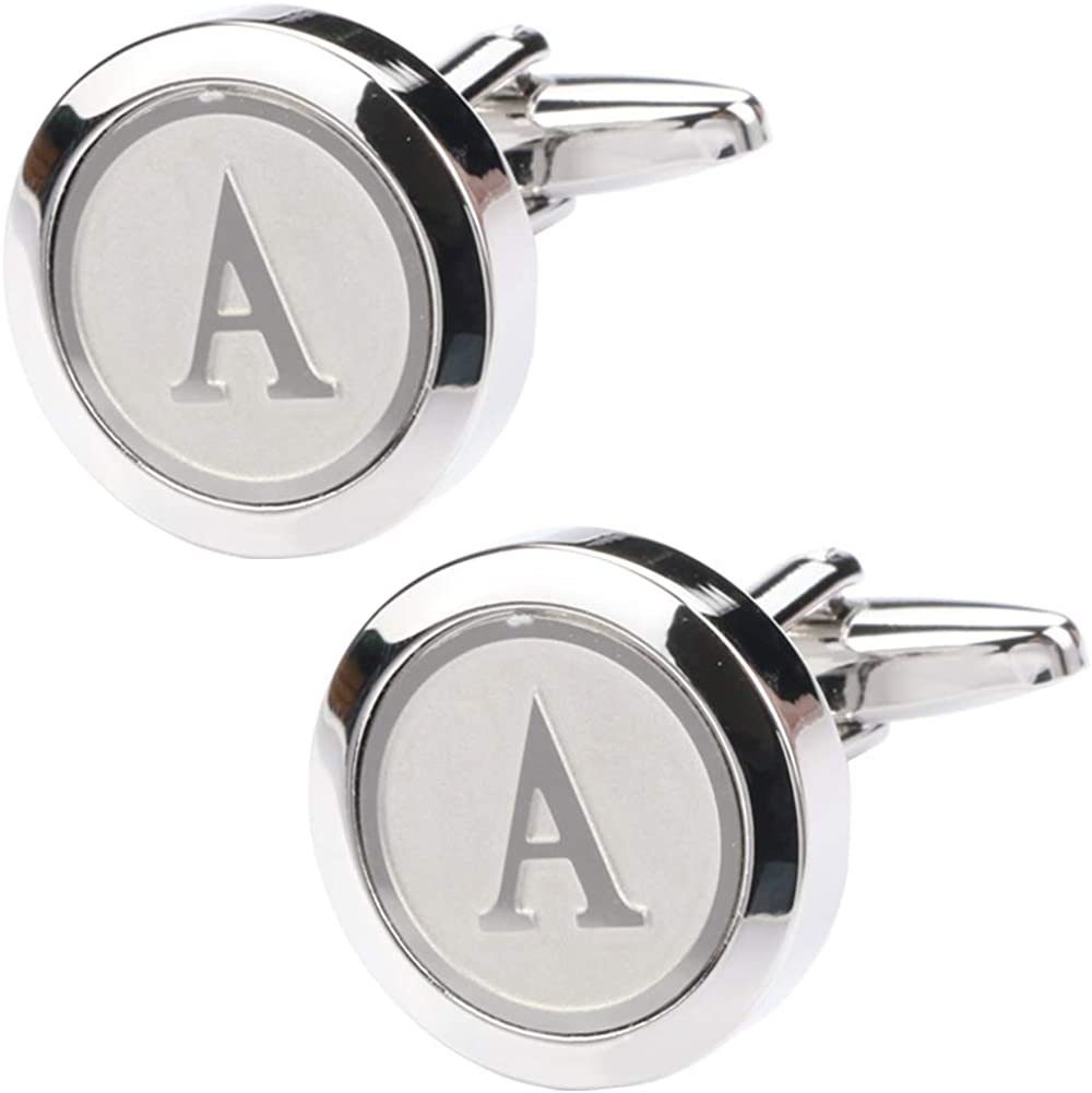 Dannyshi Mens Classic Stainless Steel Initial Cufflinks 26 Alphabet Initial Letter Cufflinks Business Wedding Shirts A-Z