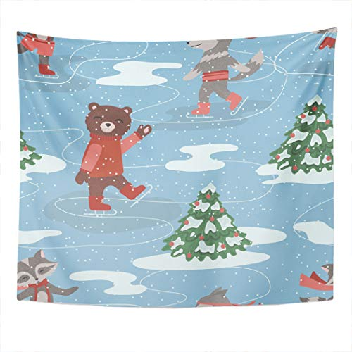 Meofo Tapestry Wall Hanging 60x80 Inch Blue Ice of Skating Animals Red Bear Black Bow Cartoon Character Christmas Polyester Dorm Apartments Bedrooms Living Beach Blankets Curtains Picnic Blankets