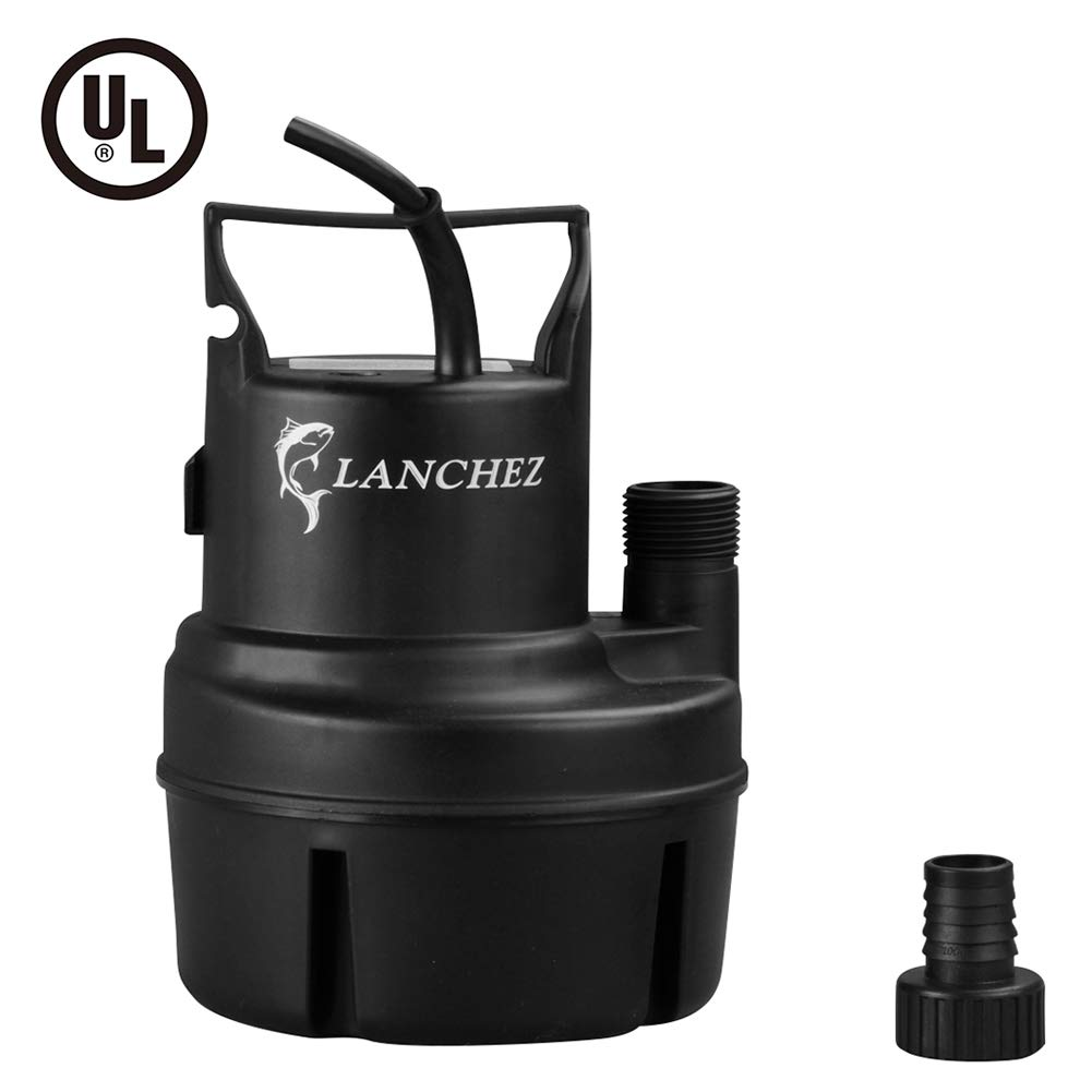 Lanchez Q2007 1/6 HP Submersible Utility Pump Multi-Purpose Electric Water Transfer Pump with 25ft Power Cord for Clean Water by LANCHEZ (Image #1)
