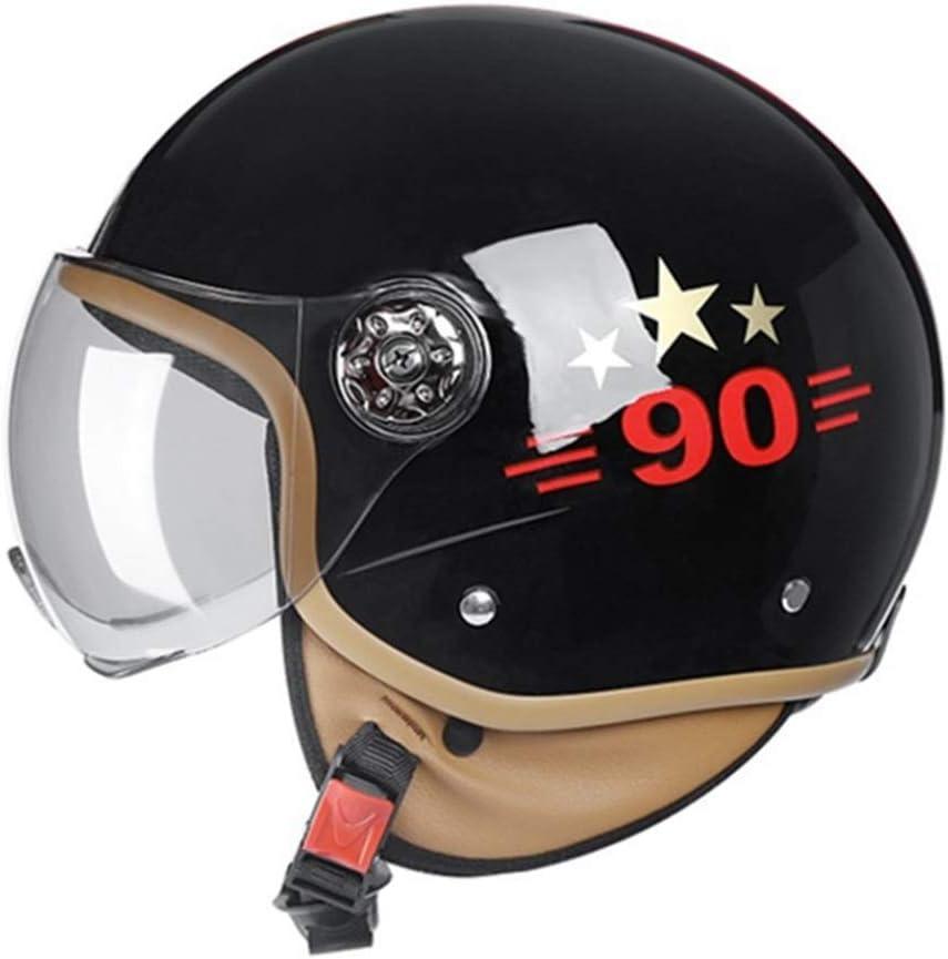 Retro Harley Motorradhelm f/ür M/änner Rollerhelm f/ür Frauen mit sto/ßfestem Innenfutter Helm mit offenem Gesicht und abwaschbarem Ohrensch/ützer
