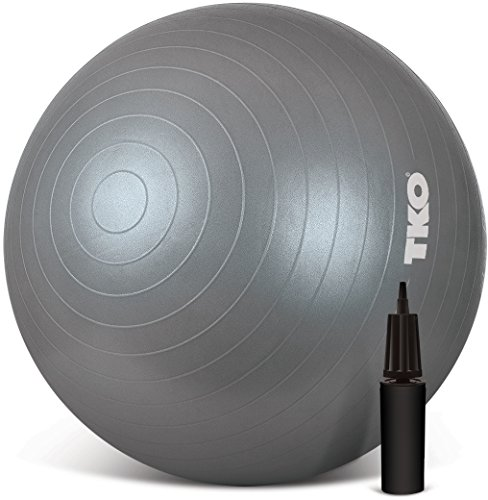 TKO Anti-Burst Exercise Stability Ball with Pump, 75cm, Silver