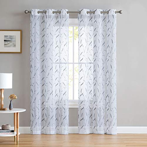 Set of Two (2) White Sheer Window Curtains: Gray Embroidered Botanical Floral Design 96