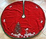 Christmas Tree Skirts - Red Velvet Santa and Christmas Tree Skirt - 52'' Round