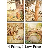 Winnie the Pooh Bear - Set of Four Photos (8x10) Unframed - Makes a Great Gift Under $20 for Disney Fans and Kid's Room Decor