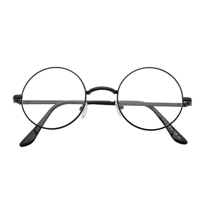 066fc51e93c Image Unavailable. Image not available for. Color  SIPU Retro Round Metal  Frame Clear Lens Glasses Non-Prescription ...