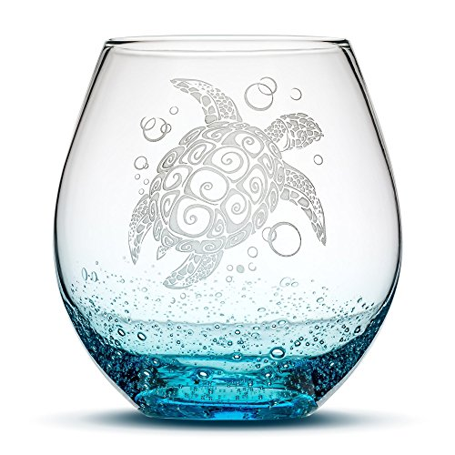 Sea Turtle Stemless Wine Glass, Bubbly Turquoise, Handblown, Tribal Design, Hand Etched Gifts, Sand Carved by Integrity Bottles