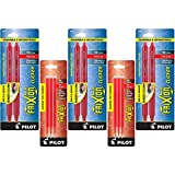 Pilot FriXion Clicker Retractable Erasable Gel Pens, Fine Point, Red Ink, 6-Pack (31462) with 6 Red Ink Refills