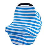 2017 New Baby Car Seat Cover Canopy Nursing Cover Multi-Use Stretchy Infinity Scarf Breast feeding Shopping Car Cover High Chair Cover Women's Tops T Shirt (blue)