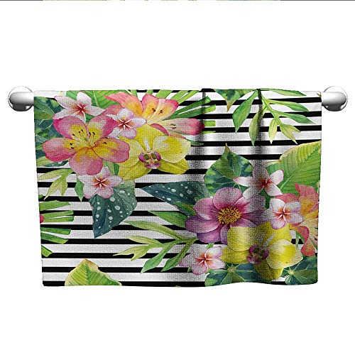 xixiBO Towel Specials W28 x L14 Floral,Bouquet with Lily Dahlia Palm Begonia Leaves Orchid Flowers on a Striped Background,Multicolor Absorbent Fabric Softener Towel
