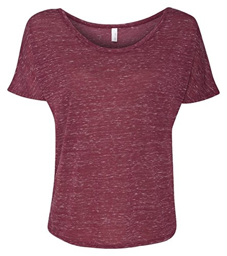 - Bella + Canvas Ladies Slouchy T-Shirt, Large, MAROON MARBLE