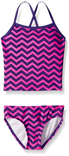 Kanu Surf Little Girls' Alexa Beach Sport 2-Piece Banded Tankini Swimsuit, Purple Chevron, 6X