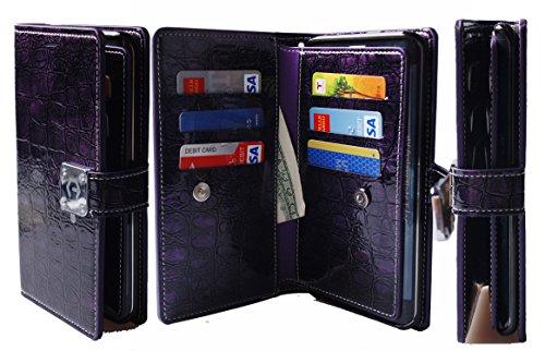 Note Edge Case,[Shine Purple] [Dual Wallet] [6 Card Slot,3 Bill Slot] [Wristlet] PU Leather TPU Bumper Clutch Case [Drop Protection] For Samsung Galaxy Note Edge N915