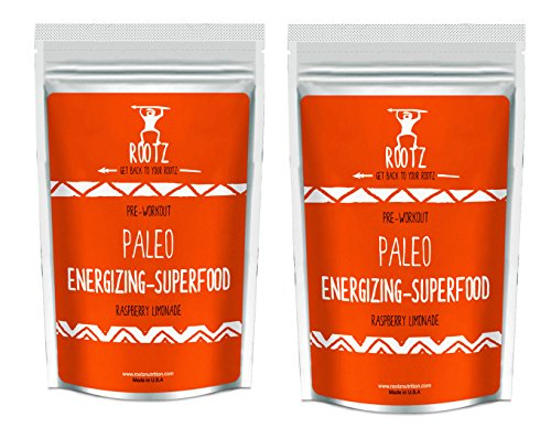 Rootz - Paleo Superfood Pre workout Drink Mix - Raspberry Lemonade - Single Serving 7.3 gram (2 pack)