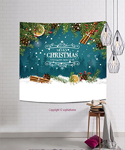 sophiehome Tapestries345610172 Christmas greeting card with traditional decorations and calligraphic lettering hanging magical thinking tapestry 23.6W x 23.6L (Halloween Makeover London)