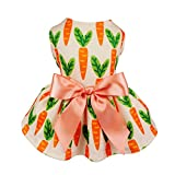 Fitwarm Carrot Ribbon Pet Clothes for Dog Dresses Vest Shirts Sundress Orange XS