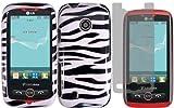 Zebra Hard Case Cover+LCD Screen Protector for LG Beacon MN270 Attune UN270 Exchange 270