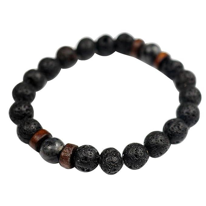 Sliwei Hombres Mujeres 8mm Lava Rock Aromaterapia Aceite Esencial Difusor Pulsera Elástica Piedra Natural Cuentas de Yoga Pulsera Brazalete