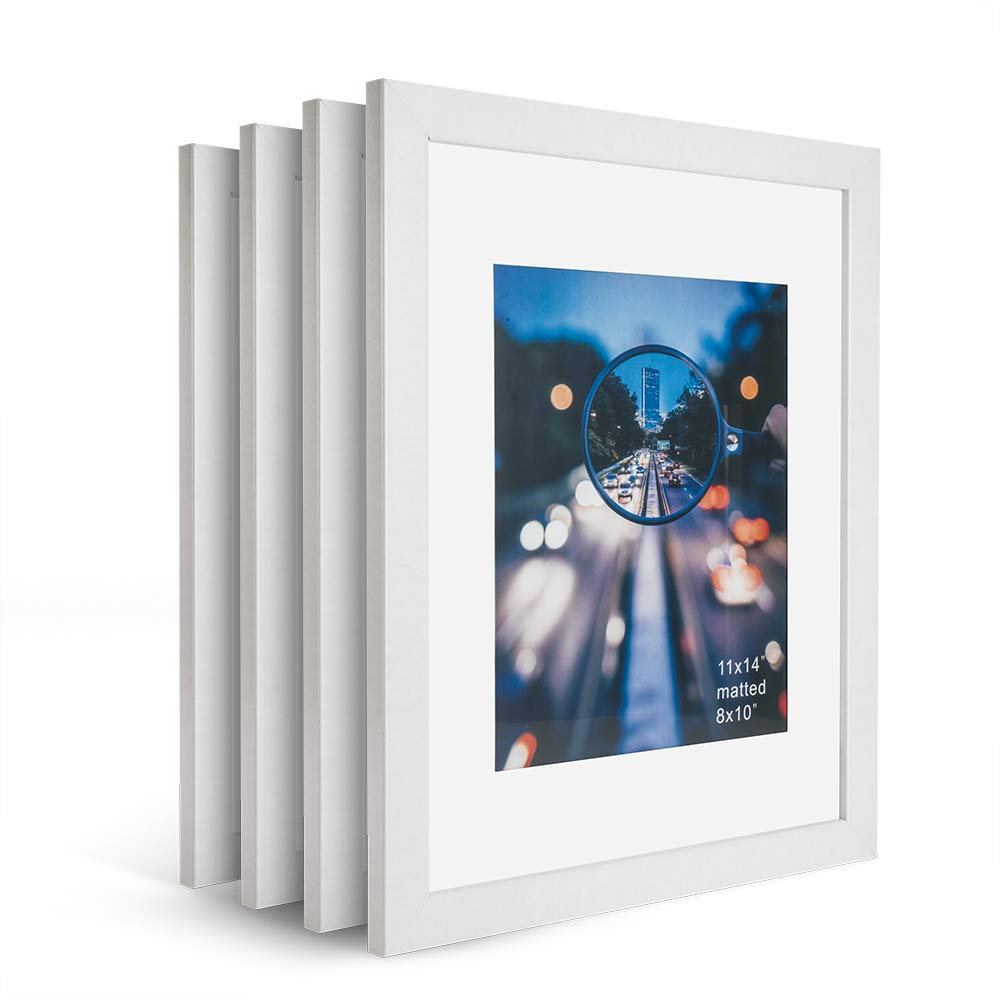 iDecorlife Premium 11x14 White Picture Frames 4PCs - 8x10 Picture Frame with Mat or 11x14 Picture Frame Without Mat - Wall Mounting Ready Real Wood Photo Frame
