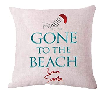 ZYCH Christmas is Better at The Beach Cotton Linen Square Throw Pillow Case Cushion Cover 18 x 18 Throw Pillow Covers (2)