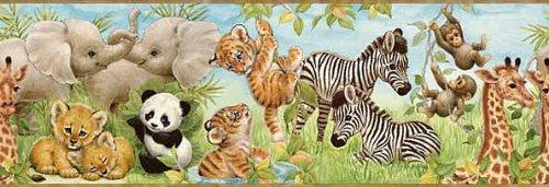 (Wallpaper Border Jungle Pals Tiger Panda, Zebra, Monkey)