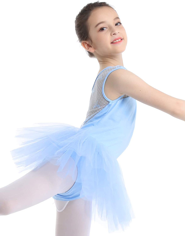 inhzoy Enfant Fille Robe de Patinage Artistique Gym Tulle Robe de Danse Ballet Latin Justaucorps /à Manche Longue Leotard de Sport Yoga Dancewear 4-14 Ans