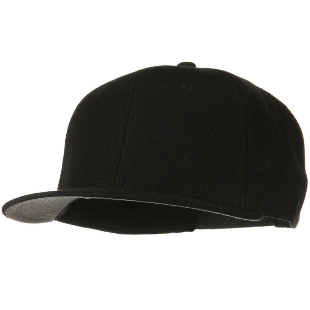 6dce4dafa70 Wool Blend Flat Visor Pro Style Snapback Cap - Black at Amazon Men s  Clothing store  Baseball Caps