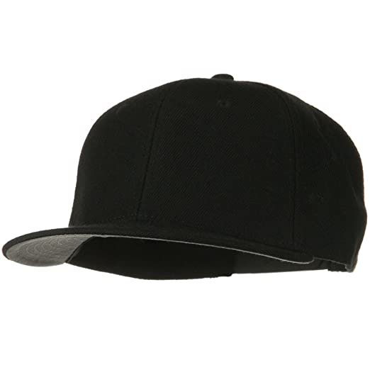 dee329901a3750 Image Unavailable. Image not available for. Color: Wool Blend Flat Visor Pro  Style Snapback Cap - Black
