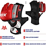 RDX MMA Gloves for Grappling Martial Arts Training, D. Cut Open Palm Maya Hide Leather Sparring Mitts, Perfect for Cage Fighting, Combat Sports, Punching Bag, Muay Thai and Kickboxing