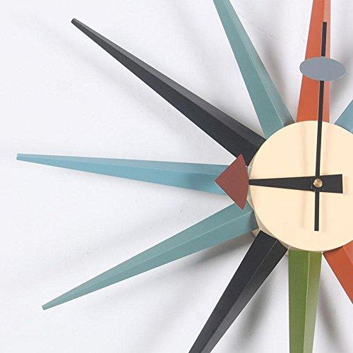 MCC Sunburst Atomic Wooden Wall Clock Mid Century Multi Color Handmade Antique Retro Telechron Danish Nelson Style , color by MCC (Image #2)
