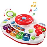 M SANMERSEN Baby Musical Toys, Electronic Keyboard Piano Music Driver Steering Wheel Toys for Toddlers Baby Kids Toys for 1 2 3 4 5 Years Old Boys Girls Gifts