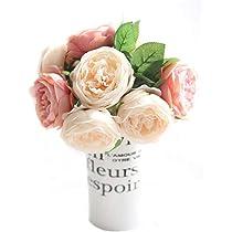 Amazon Cqure Artificial Flowersfake Silk Flowers 5 Heads Peony