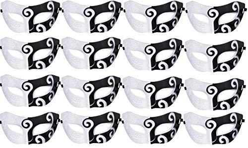 Unisex Retro Masquerade Mask Mardi Gras Costume Party Acccessory Black and White -