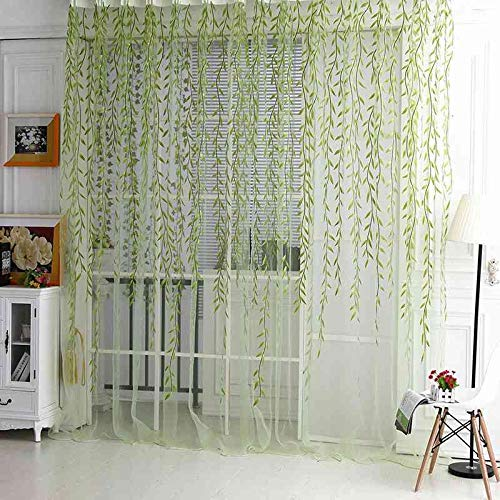 Crochet Shirt Pattern - Scarf Pattern - Green Room Willow Pattern Voile Window Curtain Sheer Panel Drapes Scarfs 1m 2m - Women Knit Dresses Green Curtains Patterned Knit/crochet Shirt Pattern Patterns Scarves Scarf Dress