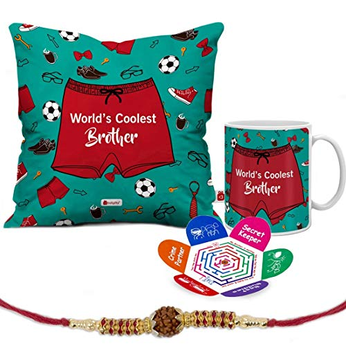 Indigifts Raksha Bandhan Gifts for Brother World's Coolest Brother Quote Printed Gift Set of Cushion 12