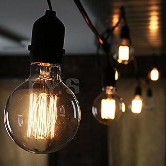 tys lighting decorative light bulbs vintage edison light bulb antique design e26 40w g80 - Decorative Light Bulbs