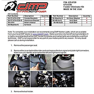 DMP Yamaha R1 YZF-R1 YZF-R1M YZF-R1S 2015 2016 2020 2020 2020 2020 Fender Eliminator Kit Includes Turn Signals and Plate Lights - 675-6720 - MADE IN THE USA: Automotive