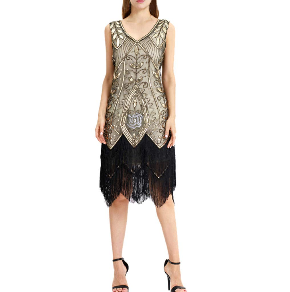 Women's Vintage Sequin Dress,CSSD O-Neck Short Sleeve Tassel Midi Dress Outdoor Casual Dresses (L, Beige)