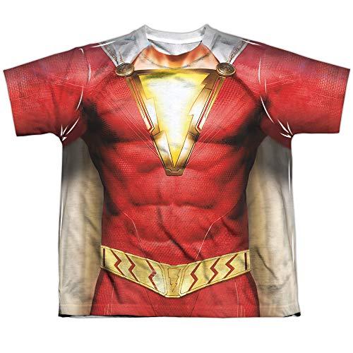 Shazam Movie Shazam Uniform Youth or Boy's Sublimated T Shirt, Medium White