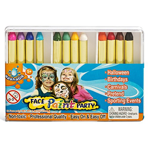 IQ Toys 12 Vibrant Professional Face Painting Crayons, Safe and Non Toxic