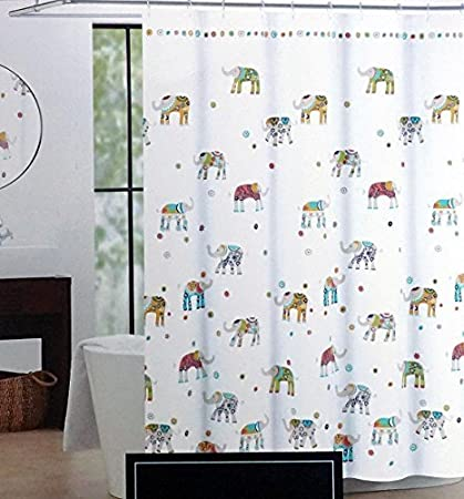 Cynthia Rowley Indian Elephant Fabric Shower Curtain 72 Inch By