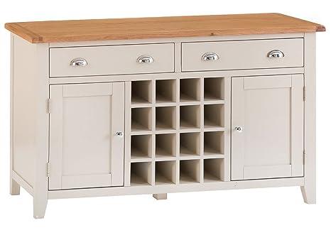 Credenza Con Portabottiglie : Credenza in legno di quercia verniciato con 2 ante e portabottiglie