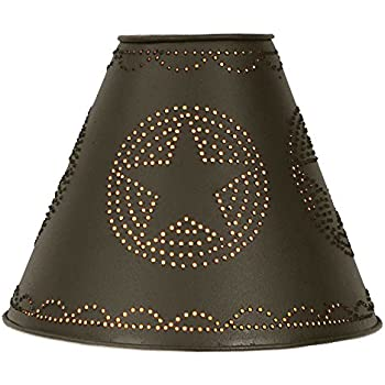 """4"""" x 10"""" x 8"""" Punched Tin Star Lamp Shade in Rustic Brown"""