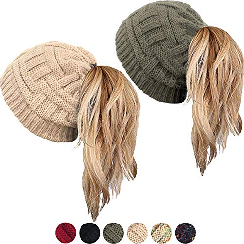 WharFlag Beanie Hat - Women Knit Winter Hat Stretch Ponytail Messy Bun  BeanieTail Cable Knit Slouchy 4f23375d479b
