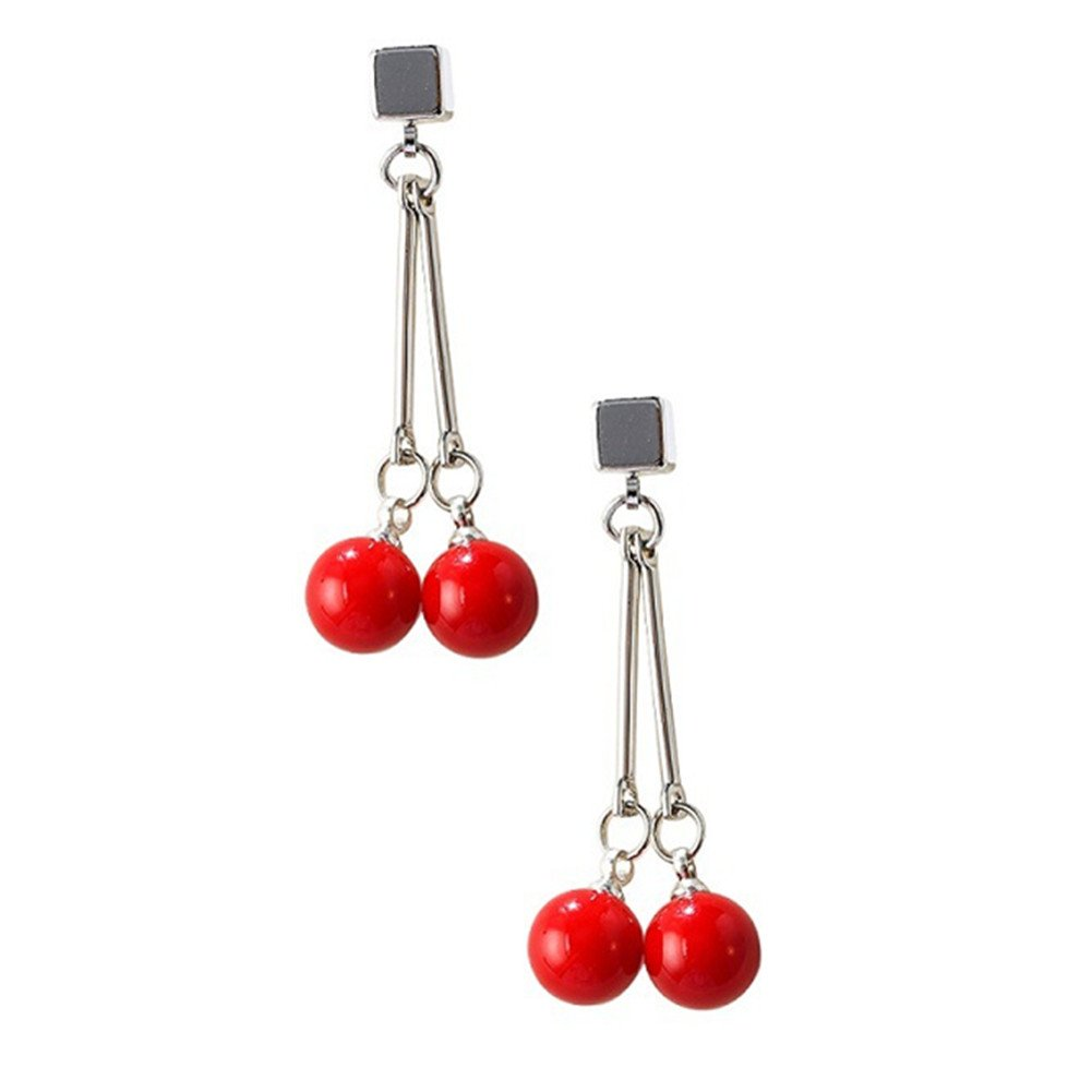 Sterling Silver Plated Small White Cube With 2 Red Balls Cherry Charm Long Tassel Drop Earrings