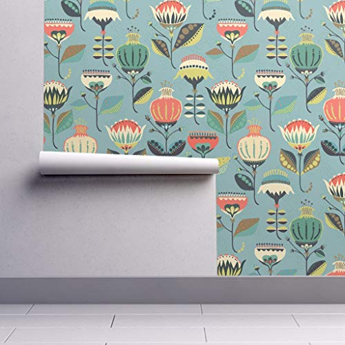 Peel-and-Stick Removable Wallpaper - Blue Floral Spring Folk Folk Spring Flowers Folk Folk Art Floral by Mintedtulip - 24in x 60in Woven Textured Peel-and-Stick Removable Wallpaper Roll