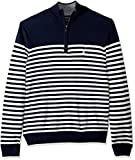 Nautica Men's Big and Tall Half-Zip Mock Neck Breton Sweater, Navy 4X