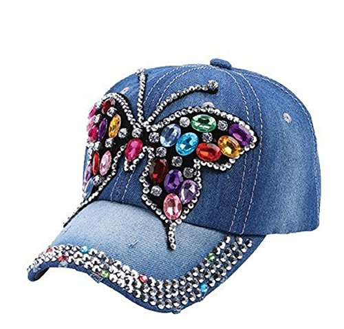 Alabama Girl Denim Colored Stones Butterfly (Stone Colored Cap)