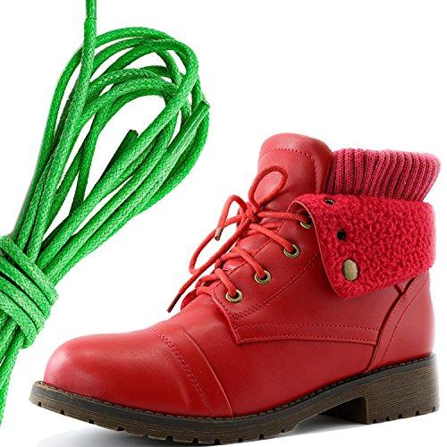 Dailyshoes Womens Style De Combat Lacets Chandail Haut Cheville Bootie Avec Poche Pour Carte De Crédit Couteau Argent Poche Portefeuille Bottes, Vert Rouge Pu